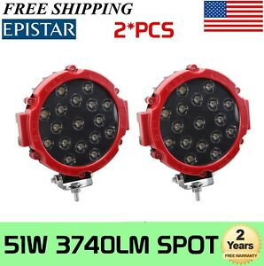 2pcs 7 in 51w Off Road Led Work Light Fog Driving 4wd Boat 4wd Jeep Red 63w 96w