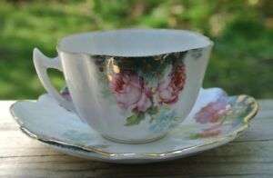 Vintage Beautiful Demitasse Cup Saucer With Hand Painted Roses