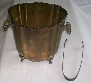 Sale Antique Silver Plated Ice Bucket With Tongs Has Alot Of Rainbow Etchings