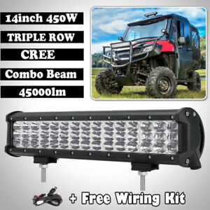 14inch 450w Tri Row Led Work Light Bar Offroad Polaris Rzr Xp1k Rzr1000 12 16
