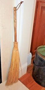 28 Fireplace Hearth Old Fashioned Broom Natural Wood Bristle Home Decor Chimney
