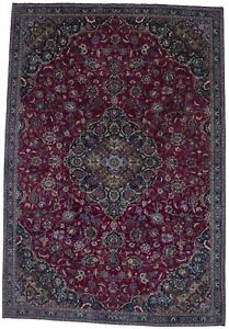 Beautiful Handmade Fuchsia Rose Vintage Persian Rug Oriental Area Carpet 7x11