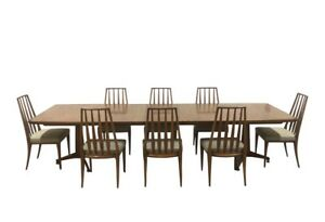 John Widdicomb Mid Century Modern Dining Table W 8 Chairs 3 Leaves 126