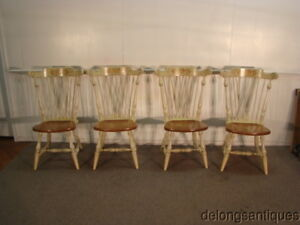 45543 Ethan Allen Hitchcock Style Set Of 4 Paint Decorated Windsor Chairs
