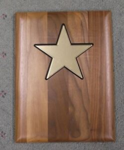 Lot Of 10 Trophy Parts Solid Walnut 9 X 12 Plaque Board Star Insert
