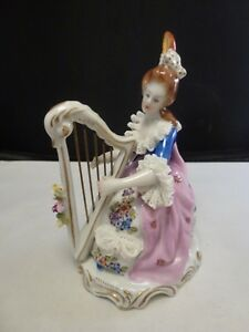 Antique German Porcelain Volkstedt Dresden Lace Lady Queen W Harp Figurine
