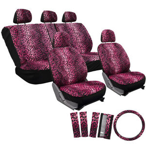 17pc Set Hot Pink Cheetah Leopard Auto Seat Covers Seat Steering Wheel Pads 1b