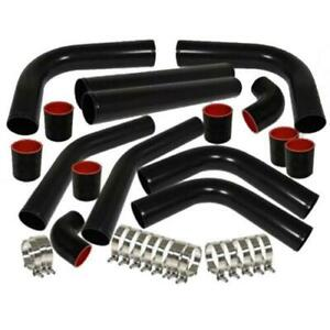 Universal 2 5 Aluminum 8pcs Turbo Intercooler Piping Pipe Kits clamp Chrome blk