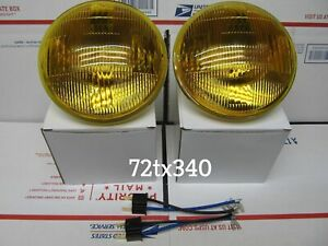 Vintage Amber Headlights 5 3 4 For Chevy Dodge Gmc Ford Truck Replaces 5001a