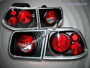Fit For 1996 2000 Honda Civic Tail Lights Jdm Black 2 Dr Coupe 97 98 99
