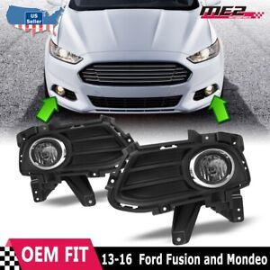 For 13 16 Ford Fusion Factory Bumper Fit Fog Lights Wiring Kit Clear Lens