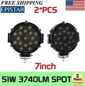 2x 7inch 51w Slim Led Offroad Work Light 4wd Atv Jeep Truck Fog Lamp Round Black