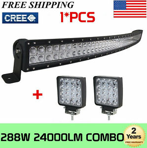 50inch 288w Curved Led Work Light Bar Cree Combo Offroad Truck 18w 4 Spot 48 52