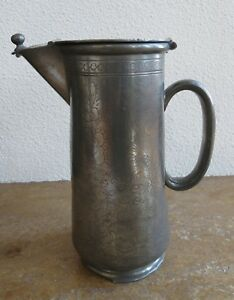 Dragon Design Kut Hing Swatow Chinese Pewter Covered Pitcher