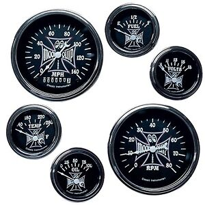 Classic Instruments Mooneyes Iron Cross 6 Gauge Set Hot Rod Steet Custom Tach 32