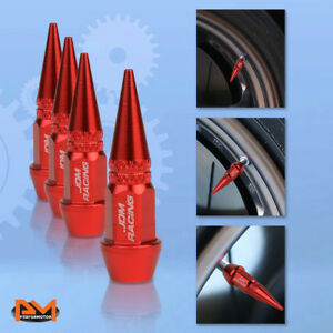 4 Pcs Red Aluminum Tires Stem Caps 45mm Spiked Lug Nug Wheel Air Valve Cover