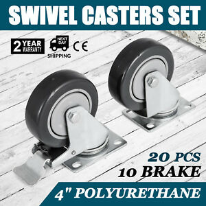 Set Of 20 Swivel Plate Casters With 4 Polyurethane Wheels 10 Side Brakes
