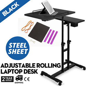 Adjustable Height Rolling Laptop Desk Table Shelves Lockable Tattooing Cart