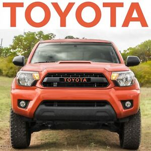 Trd Pro Grille Inferno Orange Vinyl Decal Inserts For 2012 2015 Toyota Tacoma