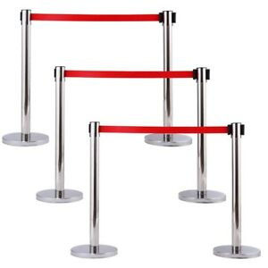 Retractable 6pcs set Crowd Control Stanchion Posts Queue Ropes Belt Barrier Tool
