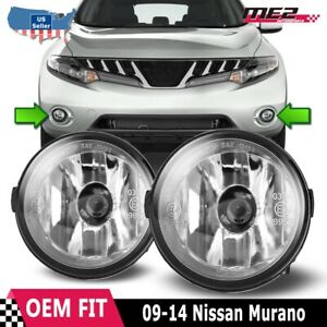 For Nissan Murano 09 12 Factory Bumper Replacement Fit Fog Lights Clear Lens