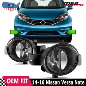Fits 12 18 Nissan Versa Note Factory Bumper Replacement Fit Fog Light Clear Lens