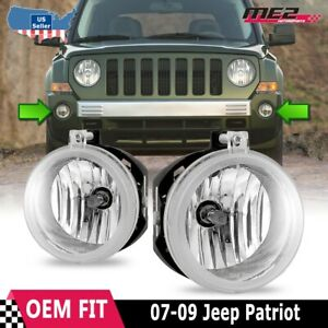 For Jeep Patriot 07 09 Factory Bumper Replacement Fit Fog Lights Clear Lens
