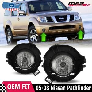 For Nissan Pathfinder 05 12 Factory Bumper Replacement Fit Fog Lights Clear Lens