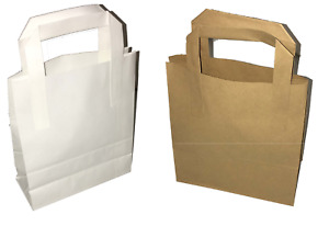 White Brown Paper Carrier Bags With Flat Handles S m l 50 100 250