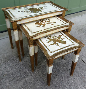 Vtg Italian Florentine Gold Gilt Wood Nesting Side Tables Stacking Toleware Tole