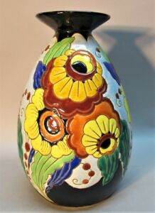 Gorgeous Charles Catteau For Boch Freres Art Deco Pottery Vase C 1925 Antique