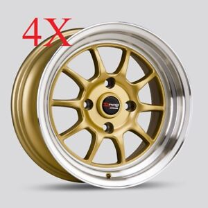 Drag Wheels Dr 16 15x8 25 4x114 10 Gold Rims For Infiniti G20 J30 10 Offset