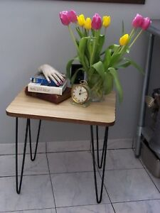 Vintage Eames Mid Century Modern Hairpin Leg Formica Top End Table