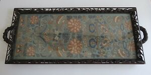 Antique 19th C Chinese Silk Textile Embroidery In Ornate Carved Wooden Tray