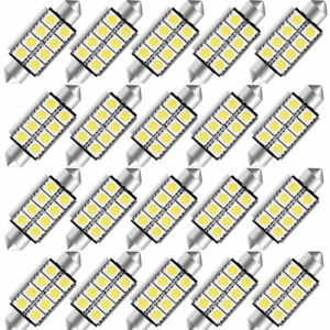 20x Super White Canbus 42mm Festoon 5050 8smd Led Map Dome Interior Light Bulbs