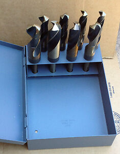 8 Pc Real M35 Cobalt Silver Deming Drill Bit Set 9 16 1 S d Huot 1 2 Shank