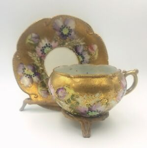 Antique Hand Painted Porcelain Cup Saucer Floral Motif Gold Encrusted Beading