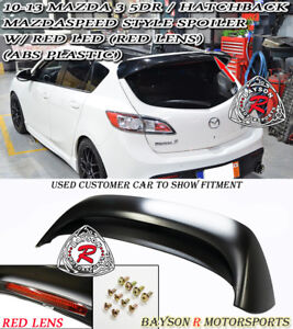 Ms Style Rear Roof Spoiler Abs Red Lens Leds Fits 10 13 Mazda 3 Hatch 5dr
