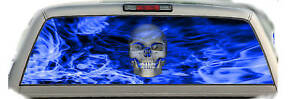 Skull Flaming blue 01 Rear Window Vehicle Graphic Tint Truck Stickers Decals