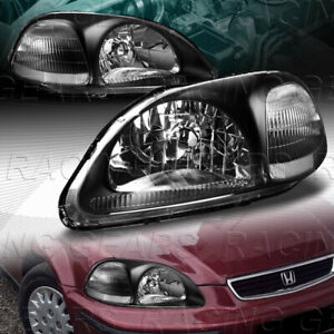 Jdm Black Housing Head Lights W Clear Reflector Lamps Fit 96 98 Honda Civic Pair