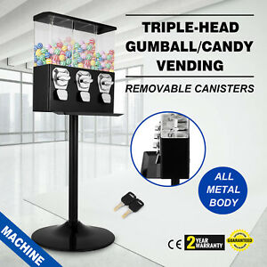 Triple Bulk Candy Vending Machine 3 Head Removable Canisters Trivend Black