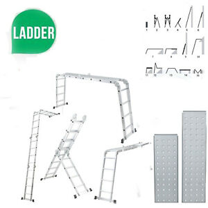 Practical Multipurpose Folding Step Ladder Scaffold Extendable W platform 15 5ft