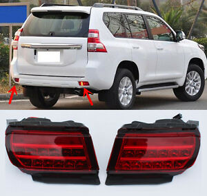 Fit For Toyota Prado 2010 2016 Led Smoked Pair Rear Fog Light Tail Bumper Light