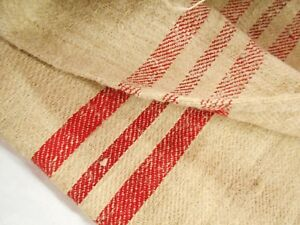 Vtg Antique 3 Red Stripes European Hemp Linen Fabric Feed Sack Grain Bag 19x53