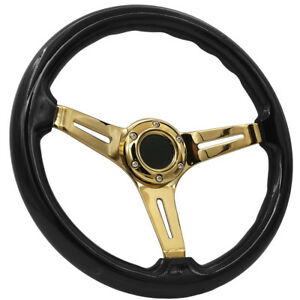 Universal 6 Bolt Hole 345mm Deep Dish Steering Wheel Black Wood Gold Spokes