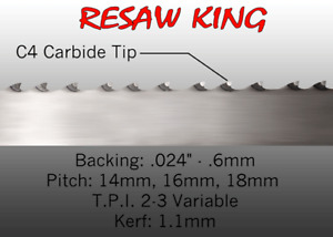 1 X 12 14 16mm Vari Tooth Pitch X 147 Resaw King Carbide Tipped Bandsaw Blade
