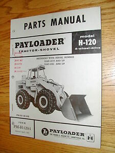 International Hough H 120 Parts Manual Book Catalog Wheel Payloader Shovel Guide