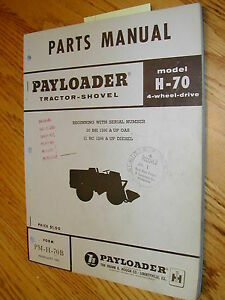 International Hough H 70b Parts Manual Book Catalog Wheel Payloader Shovel Guide