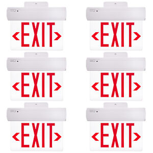 6 Pack Etoplighting Emergency Exit Sign Clear Acrylic Side Back Ceiling Mounting