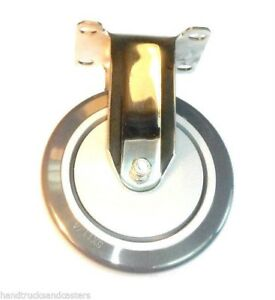 Stainless Steel Hospital Grade Rigid Caster With 5 X 1 1 4 Polyurethane Wheel